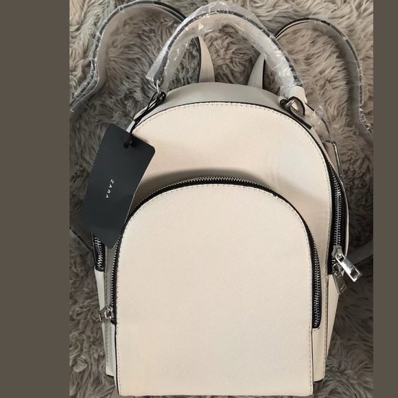 d8fa9af2da NWT ZARA Women's LARGE FAUX LEATHER BACKPACK WHITE